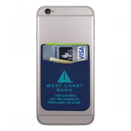 custom silicone phone wallet - navy