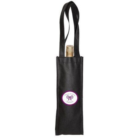 Non-Woven Single Wine Bottle Bag Black