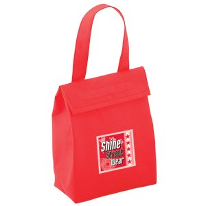 custom printed lunch bags - red