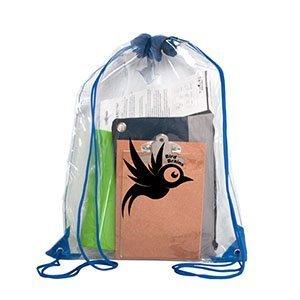 Custom Clear Drawstring Bag - blue