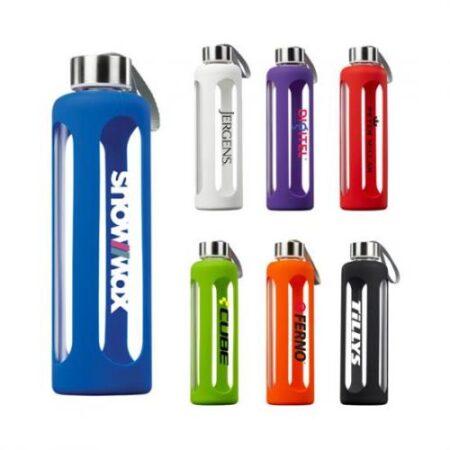 Custom Glass Water Bottles w/ Silicone Sleeve - 17 oz.