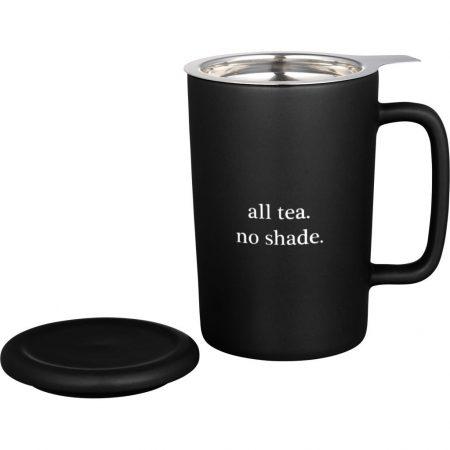 Custom Ceramic Tea Mugs w/ Lid - 14oz