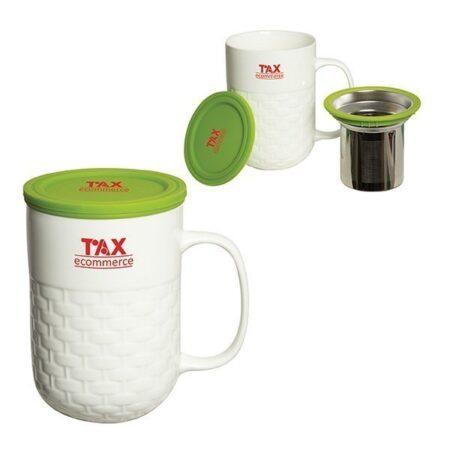 Porcelain Custom Tea Mug w/ Strainer