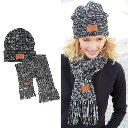 Matching Knit Custom Beanie Scarf Set