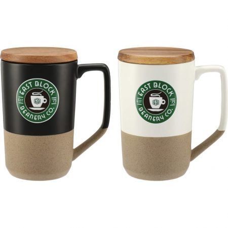 Custom Tahoe Ceramic Mug w/ Wood Lid - 16oz