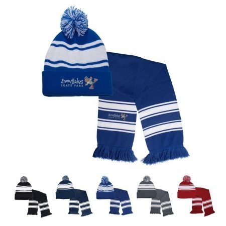 Custom Striped Knit Scarf Toque Winter Combo