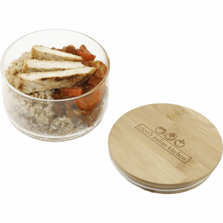 Custom Glass Food Container w/ Bamboo Lid
