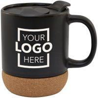 Cork Base Custom Ceramic Mug w/ Lid