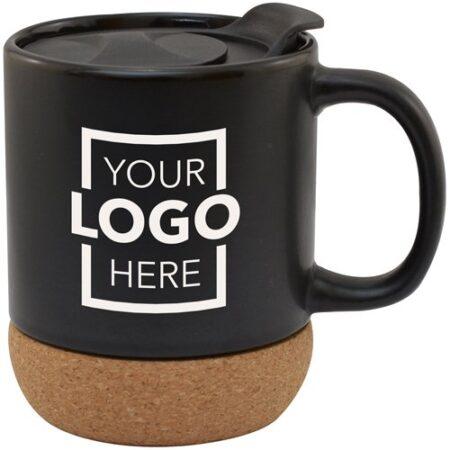 Cork Base Custom Ceramic Mug w/ Lid - 14 oz